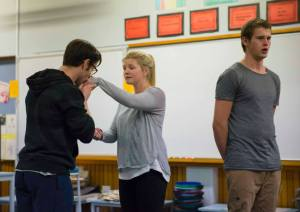 From left: James Adams, Sophie Sparrow and Robert Lindsay in rehearsal